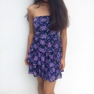 Forever 21 blue/purple floral strapless dress